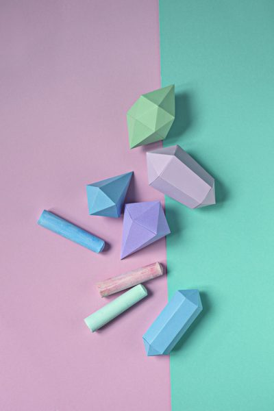 Paper gems and pastell chalks
