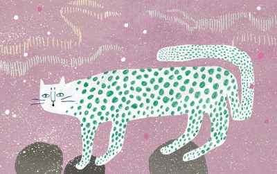 snow leopard in snow storm illustration