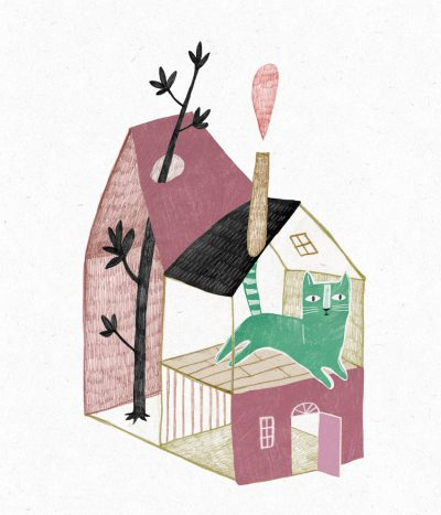 Illustration green cat house